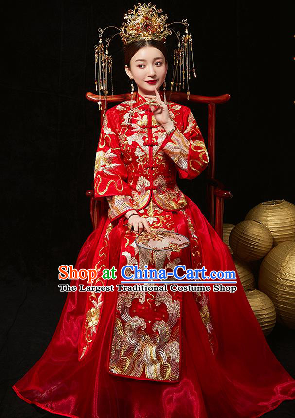 Chinese Ancient Bride Embroidered Carps Red Blouse and Dress Diamante Traditional Xiu He Suit Wedding Costumes for Women