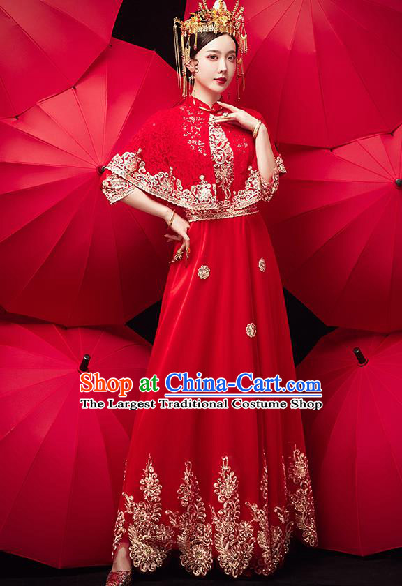 Chinese Ancient Bride Embroidered Red Veil Blouse and Dress Traditional Xiu He Suit Wedding Costumes for Women