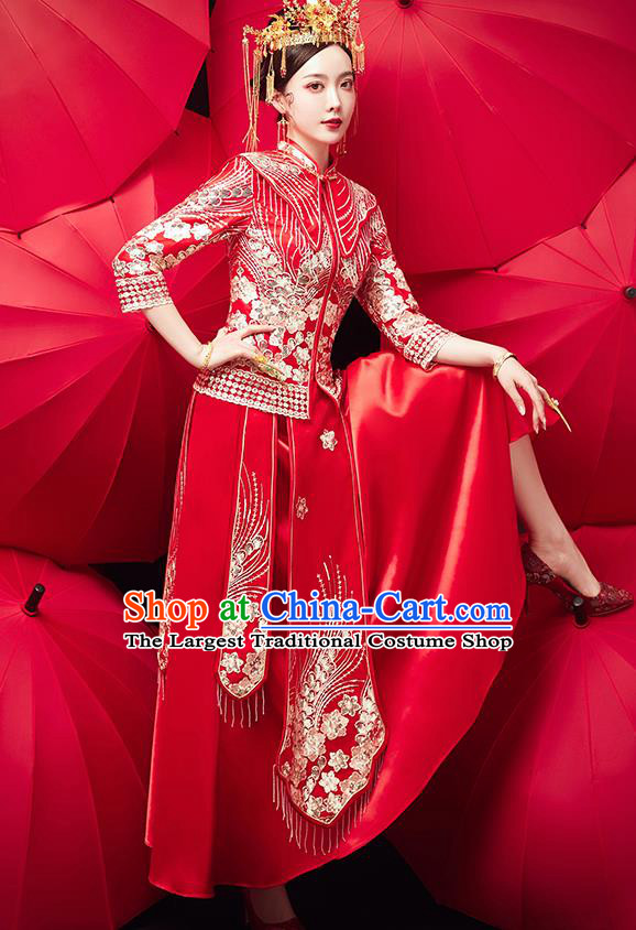 Chinese Ancient Bride Embroidered Flowers Red Blouse and Dress Traditional Xiu He Suit Wedding Costumes for Women