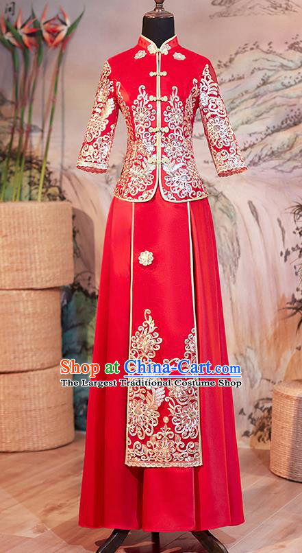 Chinese Ancient Bride Embroidered Red Blouse and Dress Traditional Xiu He Suit Wedding Costumes for Women