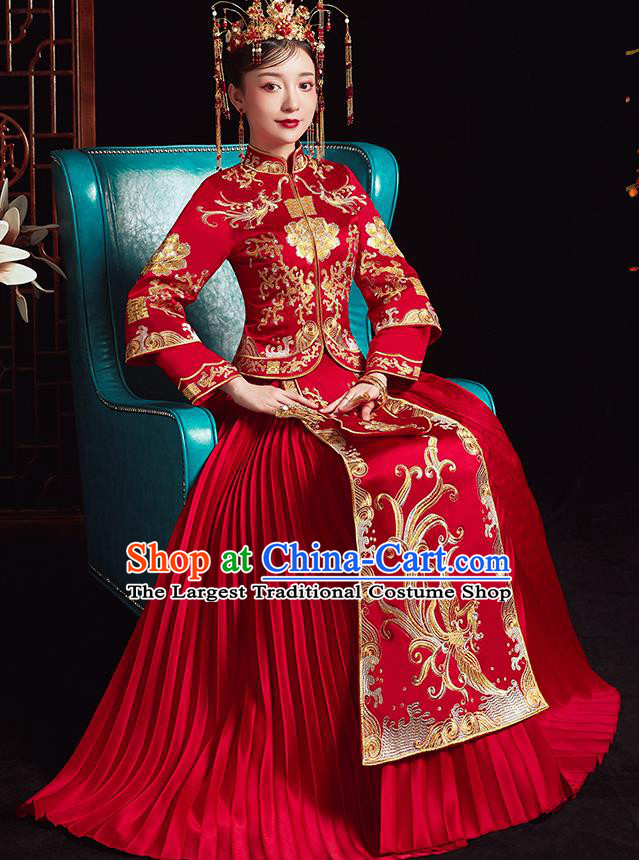 Chinese Ancient Bride Embroidered Phoenix Red Dress Traditional Xiu He Suit Wedding Costumes for Women