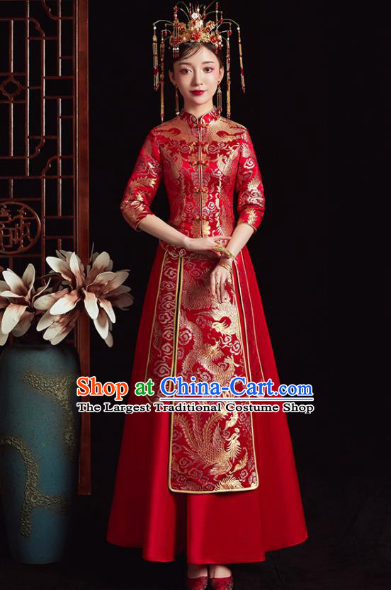Chinese Ancient Bride Embroidered Dragon Phoenix Red Dress Traditional Xiu He Suit Wedding Costumes for Women