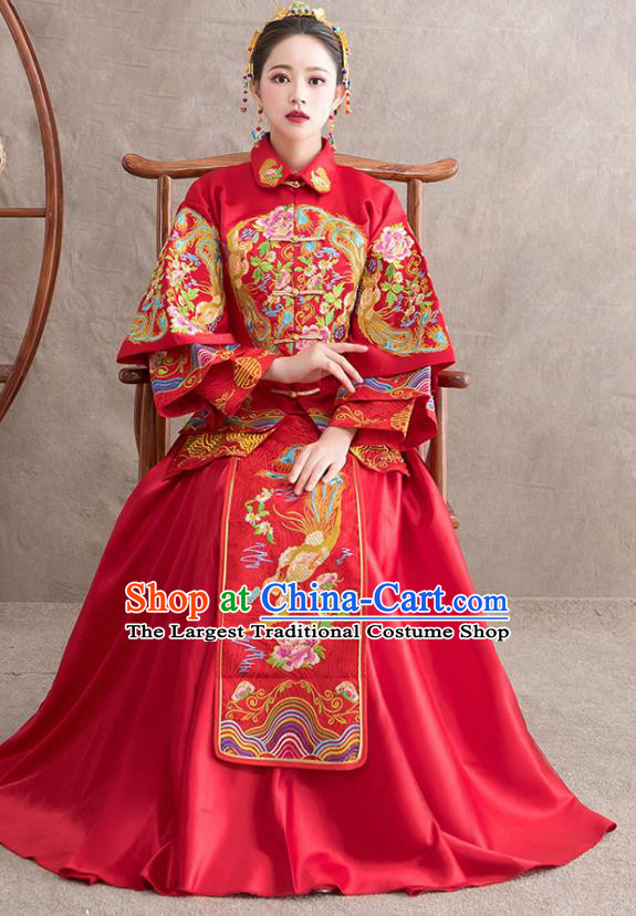 Chinese Ancient Bride Embroidered Phoenix Peony Red Dress Traditional Xiu He Suit Wedding Costumes for Women
