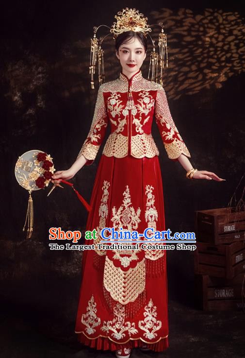 Chinese Ancient Bride Embroidered Diamante Red Xiu He Suit Wedding Costumes Blouse and Dress Traditional Bottom Drawer for Women
