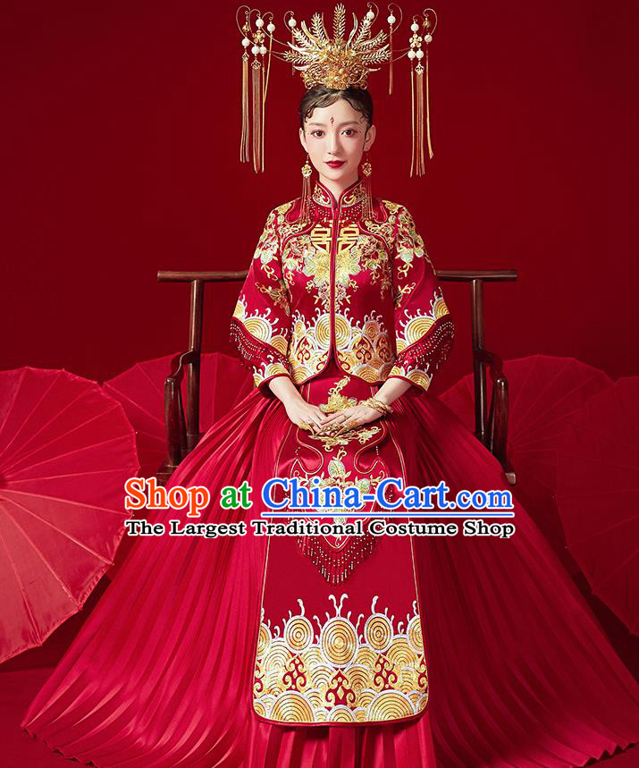 Chinese Ancient Bride Embroidered Peony Red Blouse and Dress Traditional Red Xiu He Suit Wedding Costumes for Women