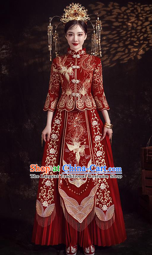 Chinese Ancient Bride Embroidered Phoenix Peony Wine Red Xiu He Suit Wedding Costumes Blouse and Dress Traditional Bottom Drawer for Women
