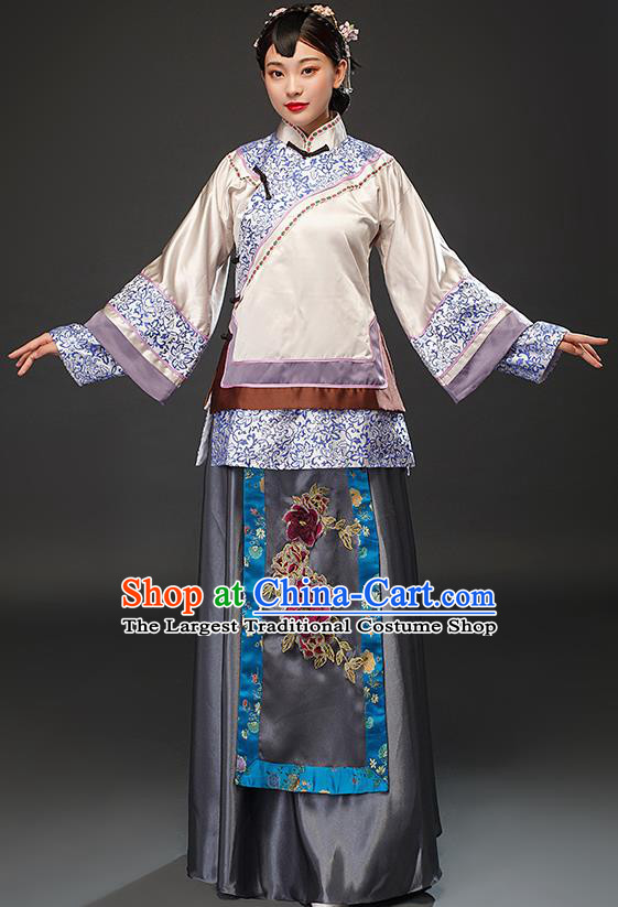 Chinese Traditional Qing Dynasty Patrician Lady Dress Ancient Young Mistress Costumes for Women