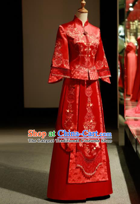 Chinese Ancient Wedding Embroidered Peony Red Blouse and Dress Traditional Bride Xiu He Suit Costumes for Women