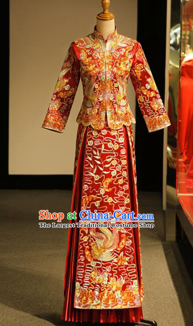 Chinese Ancient Wedding Embroidered Phoenix Peony Red Blouse and Dress Traditional Bride Xiu He Suit Costumes for Women