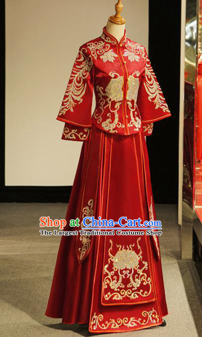 Chinese Ancient Wedding Embroidered Diamante Peony Red Blouse and Dress Traditional Bride Xiu He Suit Costumes for Women