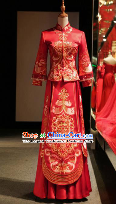 Chinese Ancient Embroidered Wedding Red Blouse and Dress Traditional Bride Xiu He Suit Costumes for Women