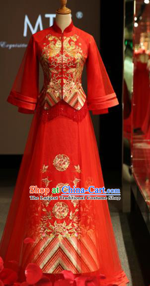 Chinese Ancient Embroidered Peony Wedding Red Blouse and Dress Traditional Bride Xiu He Suit Costumes for Women