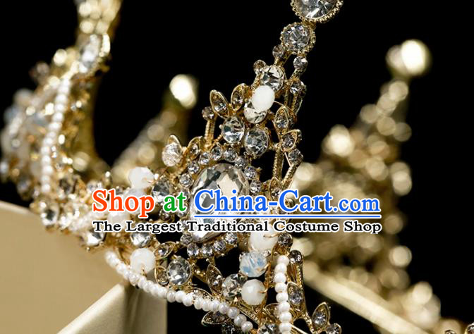 Handmade Wedding Crystal Round Royal Crown Princess Bride Hair Accessories for Women
