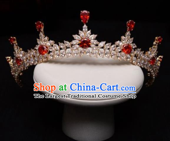 Handmade Wedding Red Crystal Zircon Royal Crown Princess Bride Hair Accessories for Women