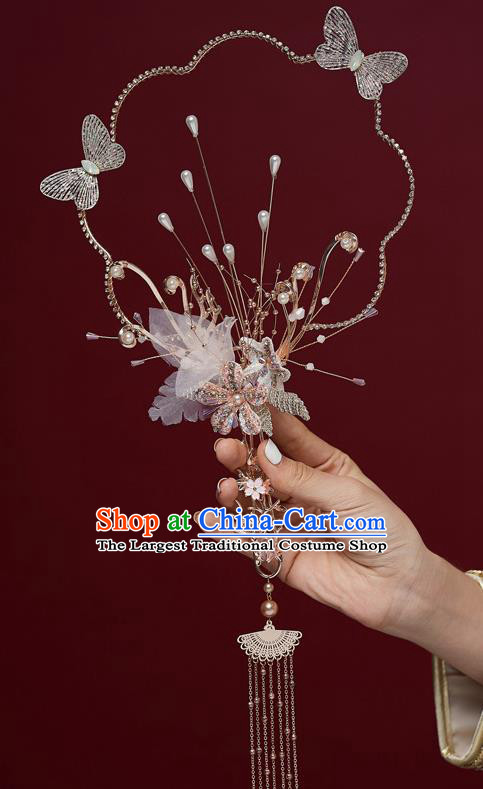 Chinese Ancient Bride Prop Silk Butterfly Palace Fans Traditional Wedding Xiu He Accessories Round Fan for Women