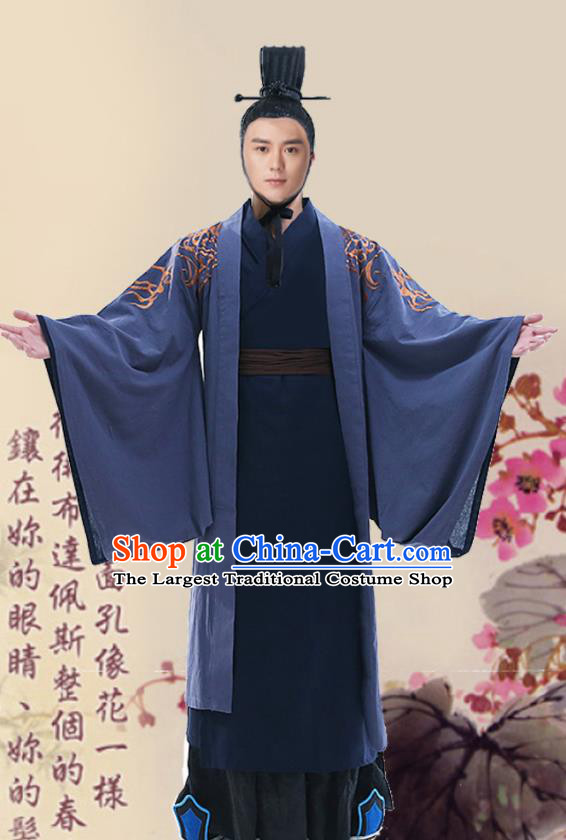 Chinese Ancient Han Dynasty Minister Navy Clothing Traditional Hanfu Scholar Costumes for Men