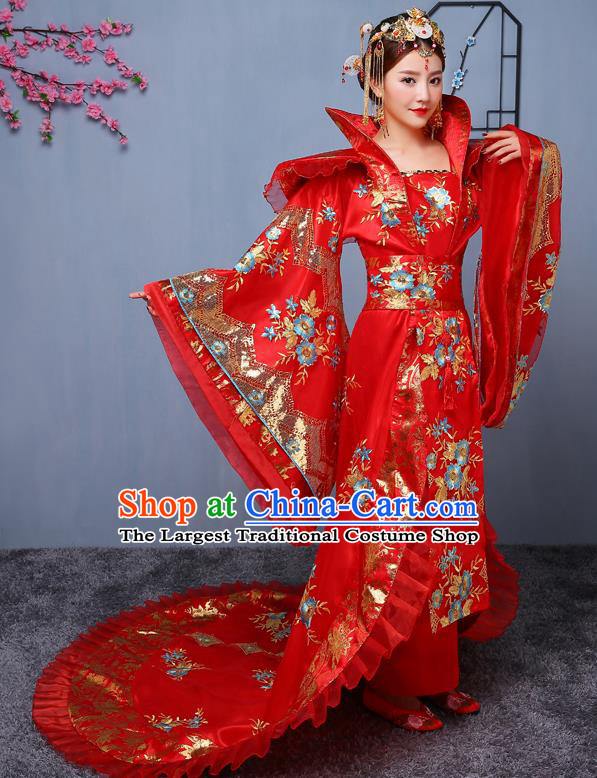 Chinese Ancient Tang Dynasty Imperial Consort Red Dress Traditional Hanfu Goddess Classical Dance Costumes for Women