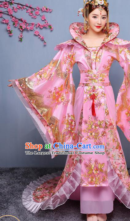 Chinese Ancient Tang Dynasty Imperial Consort Pink Dress Traditional Hanfu Goddess Classical Dance Costumes for Women