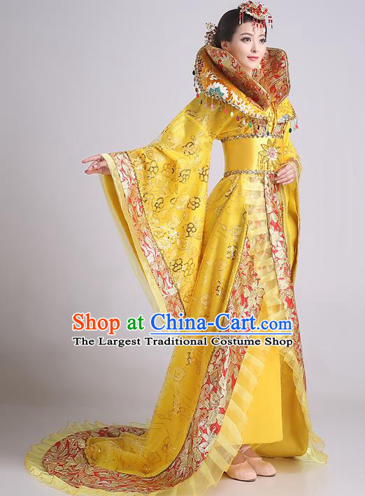 Chinese Ancient Tang Dynasty Imperial Consort Yellow Trailing Dress Traditional Hanfu Goddess Classical Dance Costumes for Women