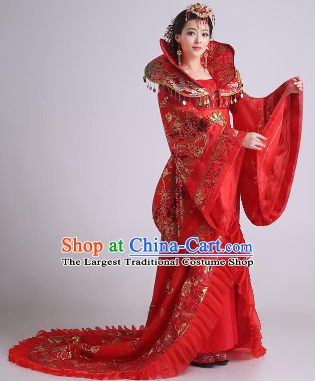 Chinese Ancient Tang Dynasty Imperial Consort Red Trailing Dress Traditional Hanfu Goddess Classical Dance Costumes for Women
