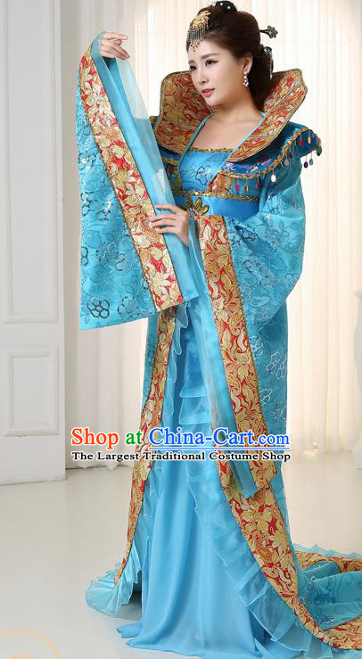 Chinese Ancient Tang Dynasty Imperial Consort Blue Trailing Dress Traditional Hanfu Goddess Classical Dance Costumes for Women