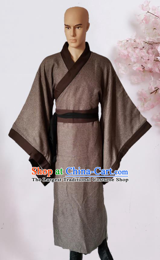 Chinese Ancient Han Dynasty Civilian Brown Hanfu Clothing Traditional Ancient Poor Scholar Costumes for Men