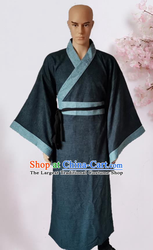 Chinese Ancient Han Dynasty Civilian Navy Hanfu Clothing Traditional Ancient Poor Scholar Costumes for Men