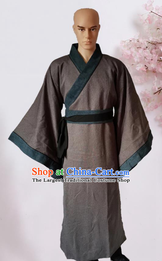 Chinese Ancient Han Dynasty Civilian Deep Brown Hanfu Clothing Traditional Ancient Poor Scholar Costumes for Men