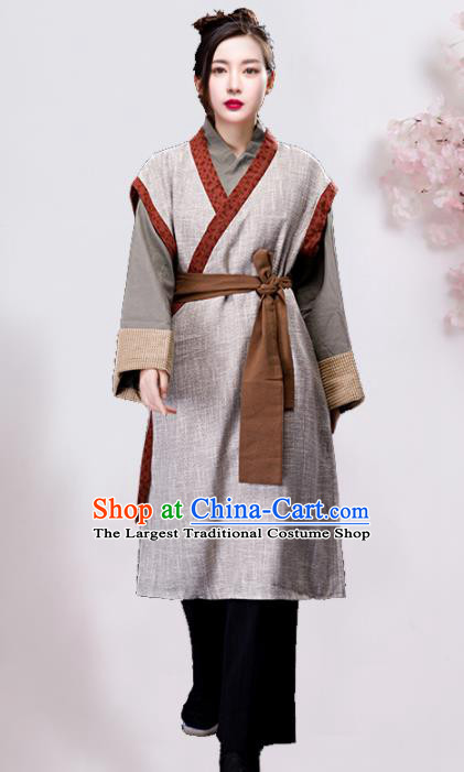 Chinese Ancient Ming Dynasty Maidservant Grey Dress Traditional Village Girl Costumes for Women