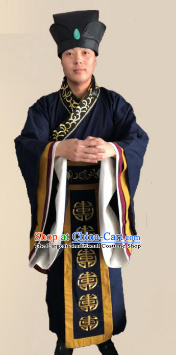 Chinese Ancient Song Dynasty Landlord Clothing Traditional Ancient Ministry Councillor Costumes and Hat for Men
