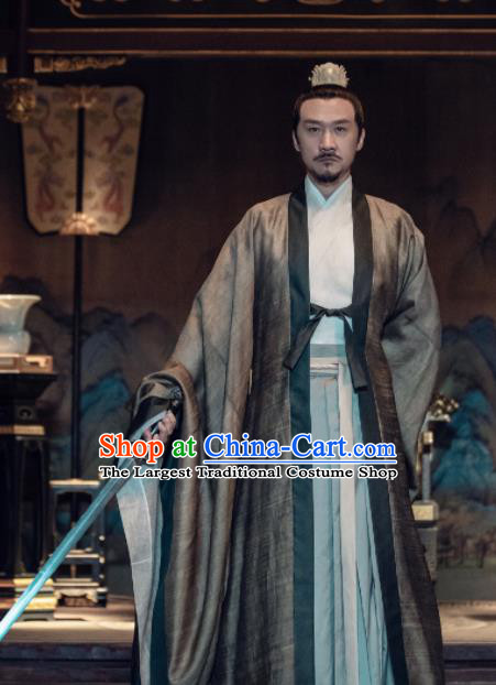 Traditional Chinese Song Dynasty Emperor Xiao Ruijian Clothing Ancient Drama Royal Nirvana Costume for Men