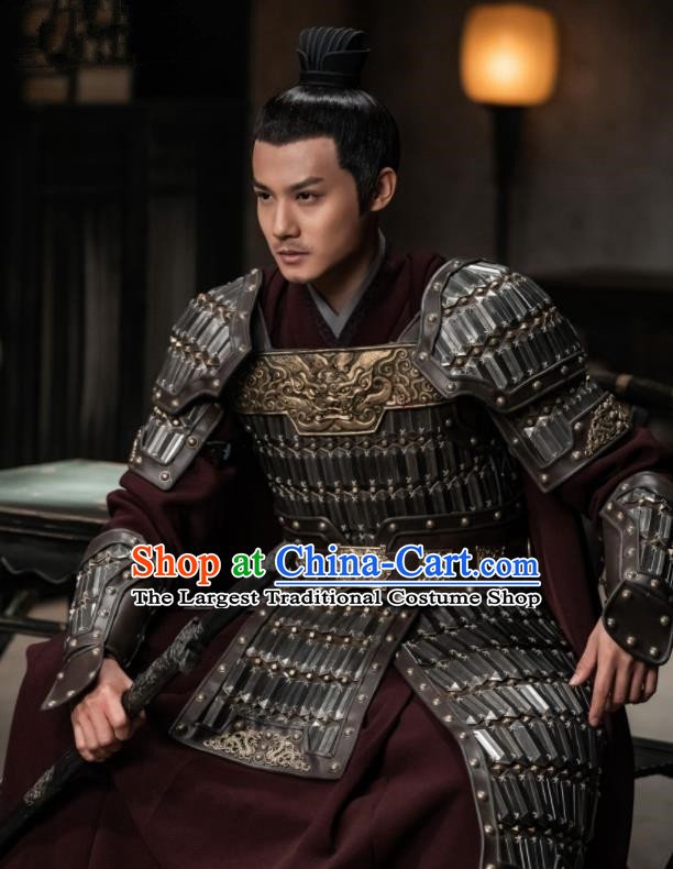 Traditional Chinese Song Dynasty General Gu Feng En Body Armor Ancient Drama Royal Nirvana Count of Jiayi Costume for Men