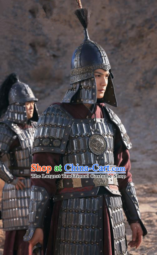 Traditional Chinese Song Dynasty Count of Jiayi General Body Armor Ancient Drama Royal Nirvana Gu Feng En Costume and Hat for Men