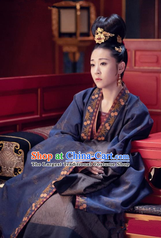 Traditional Chinese Drama Royal Nirvana Song Dynasty Senior Concubine Dress Ancient Noble Consort Zhao Costume and Headpiece for Women