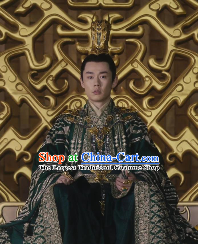 Chinese Historical Drama Ancient Emperor of Yin Empire Novoland Eagle Flag Bai Luyan Replica Costumes and Headpiece for Men