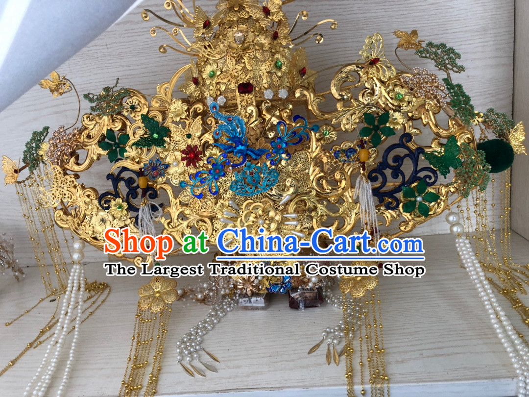 Ancient Palace Royal Princess Crown Chinese Queen Hairstyle Hair Jewelry Hair Pieces Complete Set