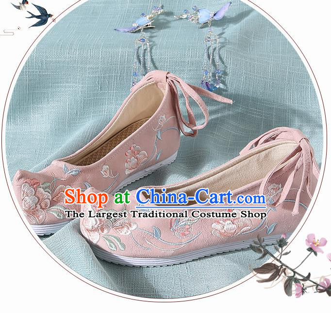 Chinese Handmade Embroidered Flowers Pink Cloth Bow Shoes Traditional Ming Dynasty Hanfu Shoes Princess Shoes for Women
