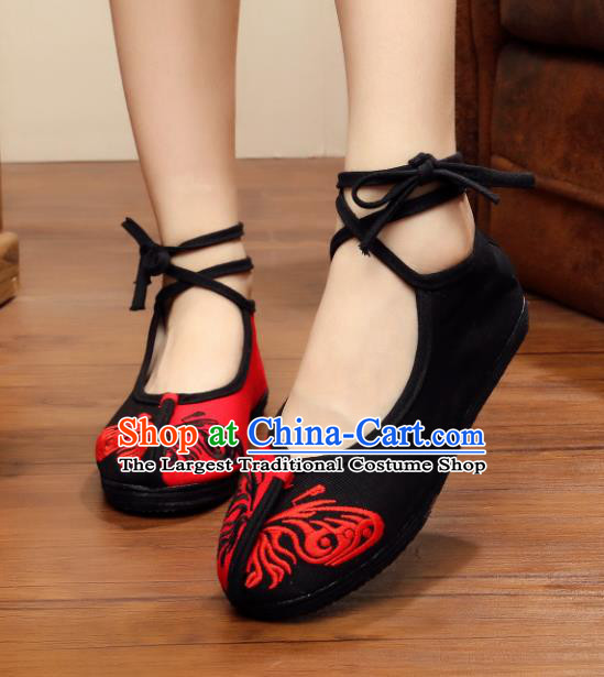 Chinese Handmade Embroidered Butterfly Black Cloth Shoes Traditional Hanfu Shoes National Shoes for Women
