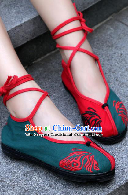 Chinese Handmade Embroidered Butterfly Green Cloth Shoes Traditional Hanfu Shoes National Shoes for Women
