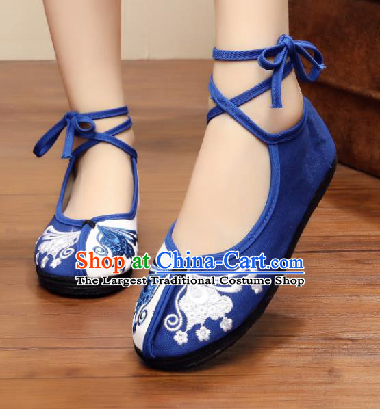 Chinese Handmade Embroidered Butterfly Blue Cloth Shoes Traditional Hanfu Shoes National Shoes for Women