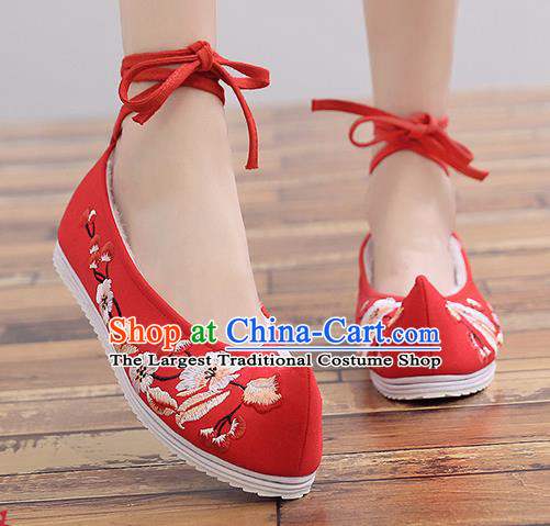 Chinese Handmade Embroidered Plum Red Cloth Shoes Traditional Hanfu Shoes National Shoes for Women