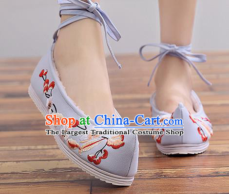 Chinese Handmade Embroidered Plum Light Blue Cloth Shoes Traditional Hanfu Shoes National Shoes for Women