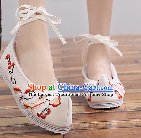 Chinese Handmade Embroidered Plum Beige Cloth Shoes Traditional Hanfu Shoes National Shoes for Women