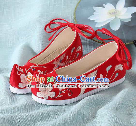 Chinese Handmade Embroidered Flower Bird Red Cloth Shoes Traditional Hanfu Shoes National Shoes for Women