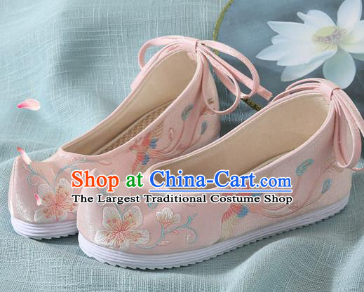 Chinese Handmade Embroidered Flower Bird Pink Cloth Shoes Traditional Hanfu Shoes National Shoes for Women
