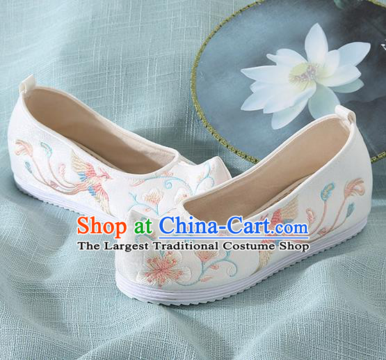 Chinese Handmade Embroidered Flower Bird White Cloth Shoes Traditional Hanfu Shoes National Shoes for Women