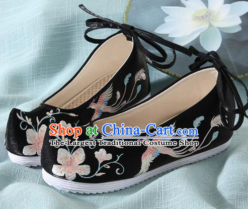 Chinese Handmade Embroidered Flower Bird Black Cloth Shoes Traditional Hanfu Shoes National Shoes for Women