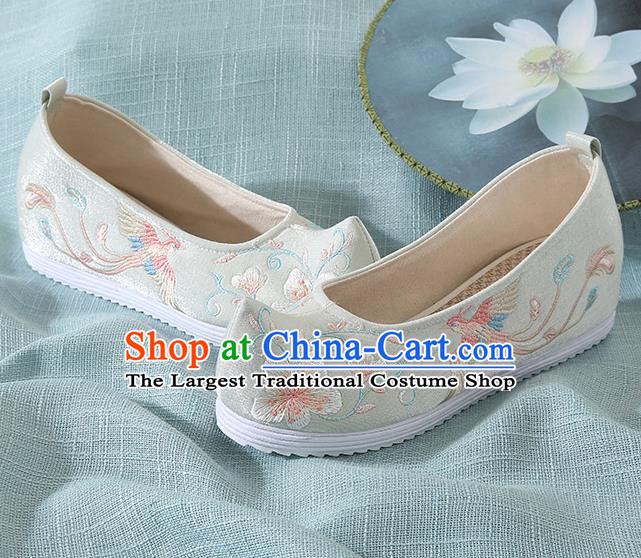 Chinese Handmade Embroidered Flower Bird Light Green Cloth Shoes Traditional Hanfu Shoes National Shoes for Women