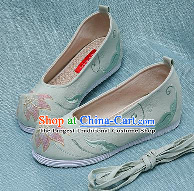 Chinese Handmade Embroidered Lotus Green Cloth Shoes Traditional Hanfu Shoes National Shoes for Women
