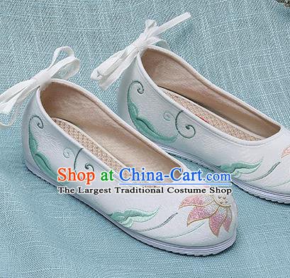 Chinese Handmade Embroidered Lotus White Cloth Shoes Traditional Hanfu Shoes National Shoes for Women